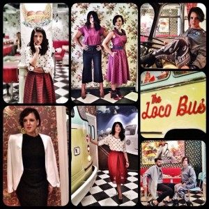 Dimitra and Nina feeling muy Locas en loco bus..with those perfect outfits from Dolls Boutique